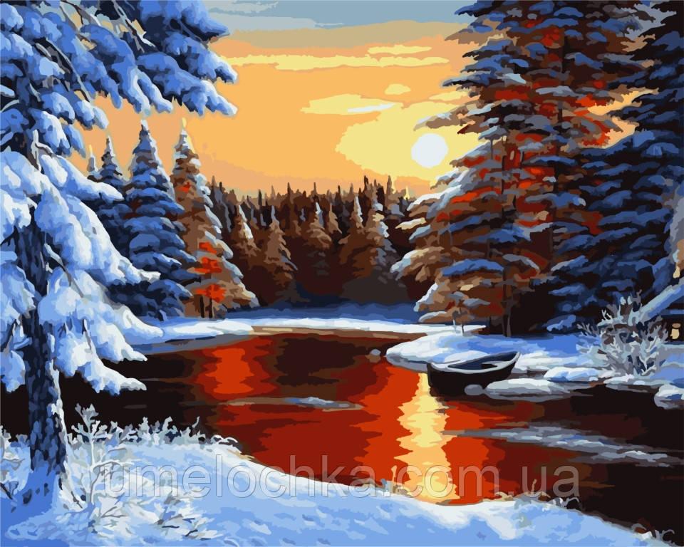 Картина по номерам на холсте Идейка Зимний вечерхуд. Сатаров, Михаил 40 х 50 см KH2818