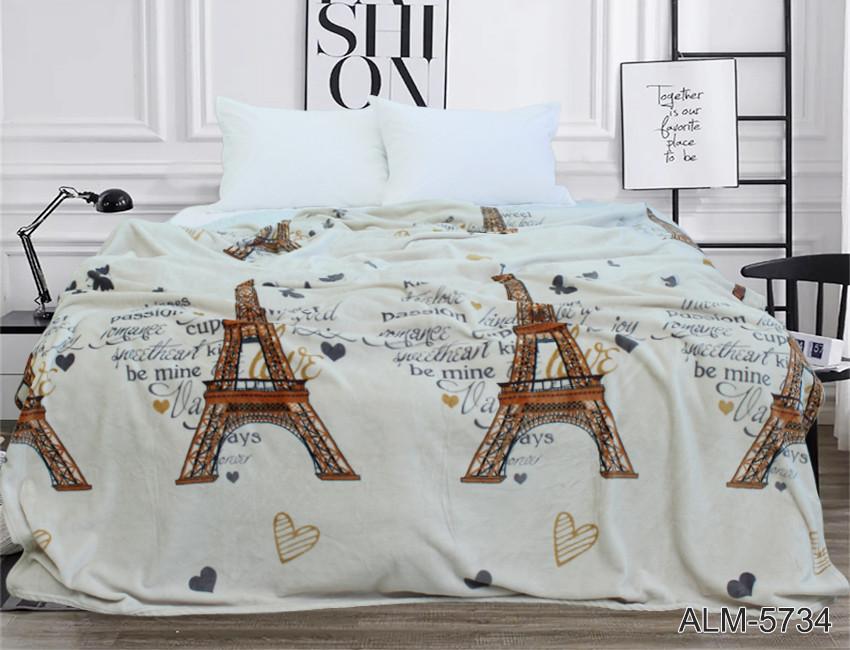 Плед покрывало 200х220 велсофт Париж на кровать, диван