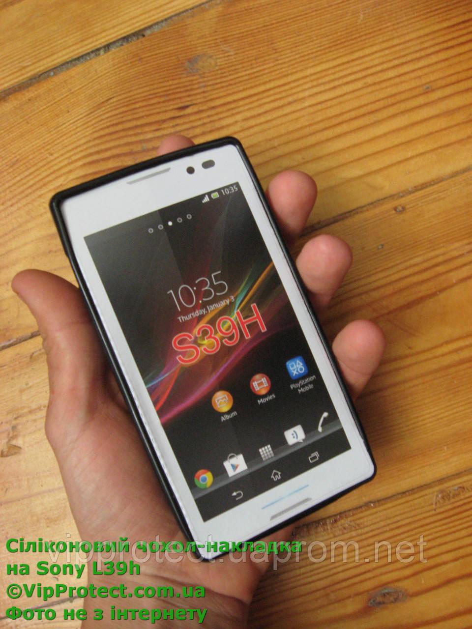 Sony Xperia_C, черный_силиконовый чехол