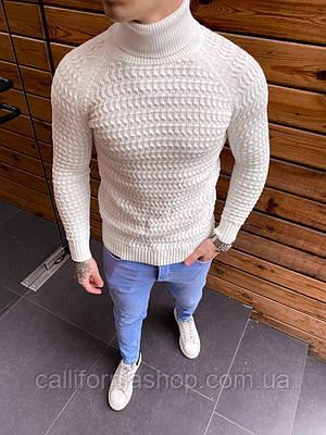 Мужской белый свитер гольф с воротником теплый