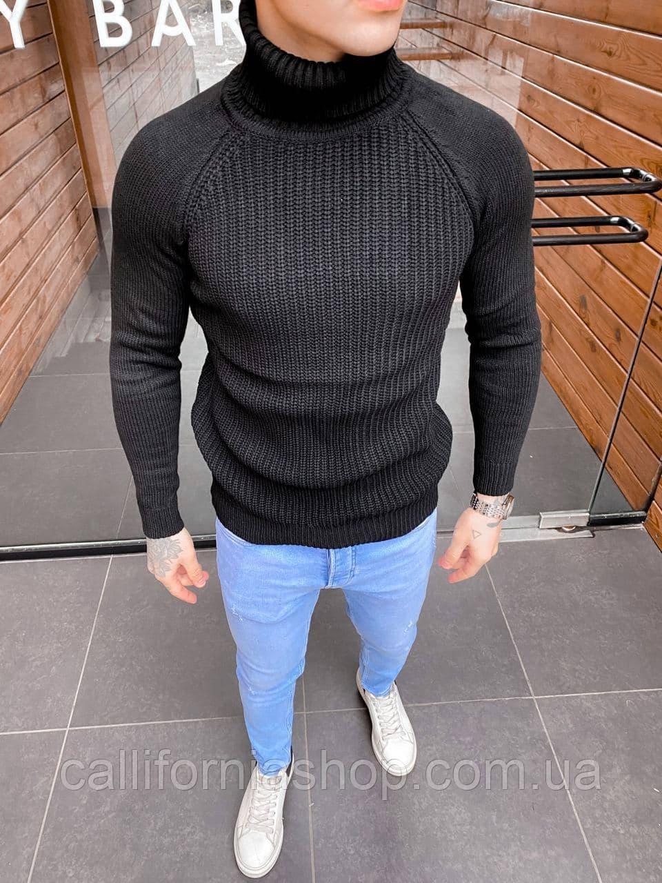Чоловічий чорний светр з коміром гольф теплий