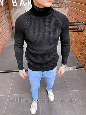 Мужской черный свитер гольф с воротником теплый