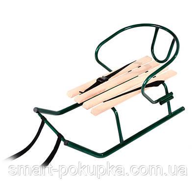 """Санки """"Малюк"""" зелені (нефарбована планка) + спинка"""