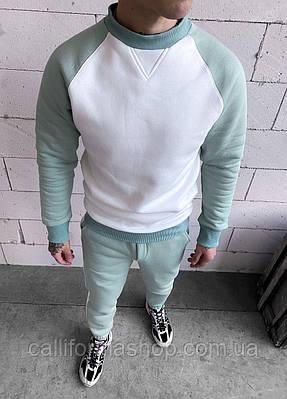 Мужской костюм двойка теплый на флисе свитшот штаны с лампасами цвет белый с мятным