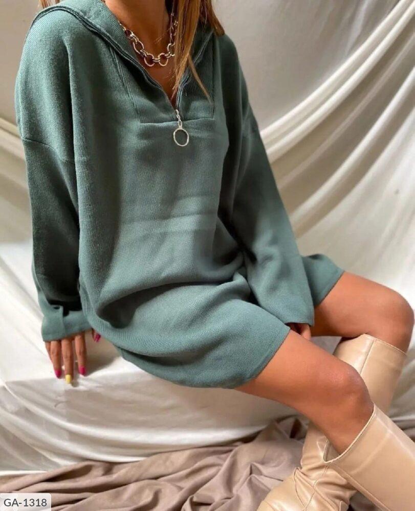 Женское короткое осеннее платье с ангоры со змейкой, 42-44, 44-46, оливка, черный, молоко, кэмел