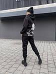 """Спортивний костюм жіночий трехнить на флісі """"Міккі"""", 50-52, чорний, меланж (Батал), фото 2"""
