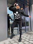 """Спортивний костюм жіночий трехнить на флісі """"Міккі"""", 50-52, чорний, меланж (Батал), фото 3"""