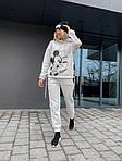 """Спортивний костюм жіночий трехнить на флісі """"Міккі"""", 50-52, чорний, меланж (Батал), фото 6"""