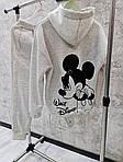 """Спортивний костюм жіночий трехнить на флісі """"Міккі"""", 50-52, чорний, меланж (Батал), фото 9"""