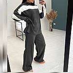 Жіночий теплий брючний костюм з двухстороней ангори oversize, графіт, чорний, меланж, фото 4