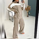 Жіночий теплий брючний костюм з двухстороней ангори oversize, графіт, чорний, меланж, фото 5