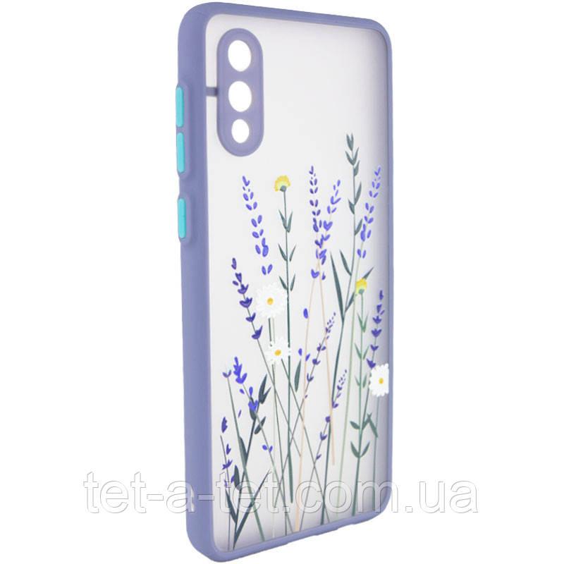 Чехол силиконовый Picture Color Buttons full camera для Samsung Galaxy A02  - Цветы (Lavender Grey)