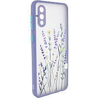Чехол силиконовый Picture Color Buttons full camera для Samsung Galaxy A02  - Цветы (Lavender Grey), фото 1