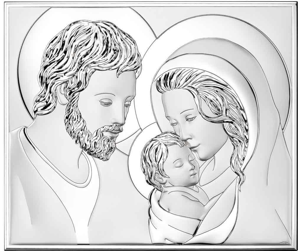 Ікона срібна Свята Родина 39х32см 81340 6L