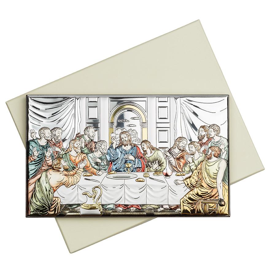 Икона серебряная Тайная Вечеря цветная 20х12см 81323.4XL.COL