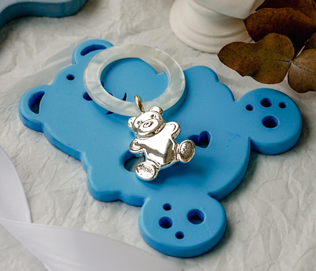 Серебряный погремушку Мишка с перламутровым кольцом GIO122D-MP.925