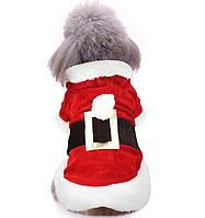 Толстовка для собак «Наряд Санты», кофта, джемпер, накидка, праздничная новогодняя одежда для собак, фото 1