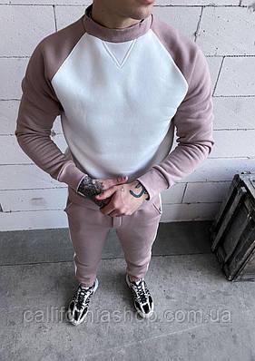 Костюм чоловічий теплий двійка на флісі світшот штани, колір білий з бежевим