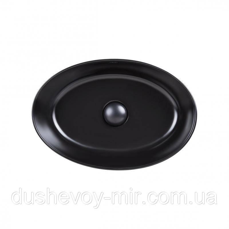 Раковина-чаша Qtap Leo 450х305х160 Matt black с донным клапаном QT1111A052MB