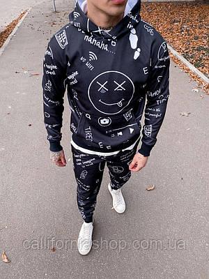 Костюм мужской спортивный черный с начесом теплый с капюшоном молодежный