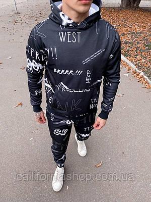 Костюм мужской спортивный черный с начесом теплый с капюшоном с надписями молодежный