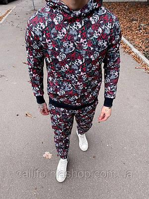 Костюм мужской спортивный с начесом с принтом розы череп штаны худи с капюшоном теплый молодежный