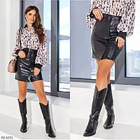 Молодежная женская стильная юбка короткая прямая из эко-кожи на кнопках арт 327