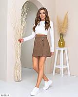 Молодежная стильная короткая юбка-шорты мини из стрейч замши эффектная р-ры 44,46 арт 573