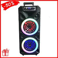 Колонка портативная акустическая Kimiso QS-224 с проводным микрофоном, музыкальная колонка-чемодан для дома