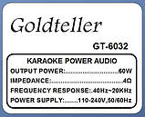 Автономна акустична система Goldteller GT-6032 з мікрофоном, фото 4