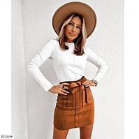 Замшевая модная женская юбка короткая эффектная облегающая мини замш на дайвинге осень-зима арт 1010