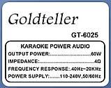Автономна акустична система Goldteller GT-6025 з мікрофоном, фото 2