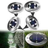 Комплект 4 шт. – Уличные светильники на солнечной батарее Solar Disk 8led-dm8 – садовые фонари, фото 2