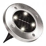 Комплект 4 шт. – Уличные светильники на солнечной батарее Solar Disk 8led-dm8 – садовые фонари, фото 3