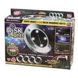 Комплект 4 шт. – Уличные светильники на солнечной батарее Solar Disk 8led-dm8 – садовые фонари, фото 8