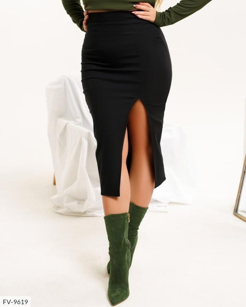 Стильна жіноча спідниця за коліно з легкого стрейч джинса з розрізом великі розміри 50-56 арт. 806