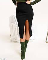 Стильна жіноча спідниця за коліно з легкого стрейч джинса з розрізом великі розміри 50-56 арт. 806, фото 1
