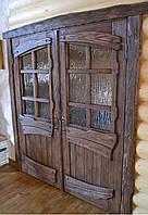 Дверь двустворчатая распашная под старину с витражами