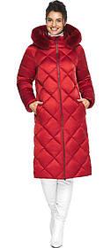 Рубиновая куртка с брендовой фурнитурой женская модель 31046 (ОСТАЛСЯ ТОЛЬКО 48(M))