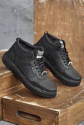 Мужские кроссовки кожаные зимние черные Splinter Б 0621 на меху