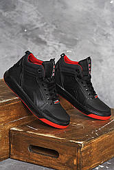 Мужские кроссовки кожаные зимние черные Splinter Б 0721 на меху