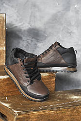 Мужские кроссовки кожаные зимние черные-коричневые Emirro 100 на меху