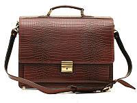 Классический мужской кожаный портфель Croco Brown
