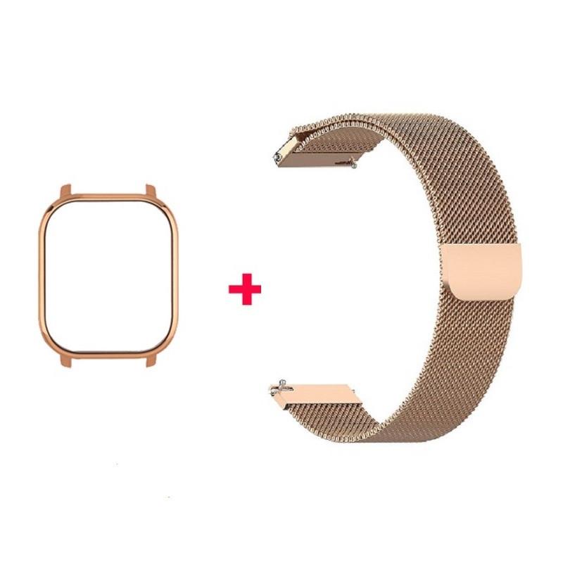 Amazfit Bip Комплект для смарт часов (металлический магнитный ремешок и бампер), Rose gold