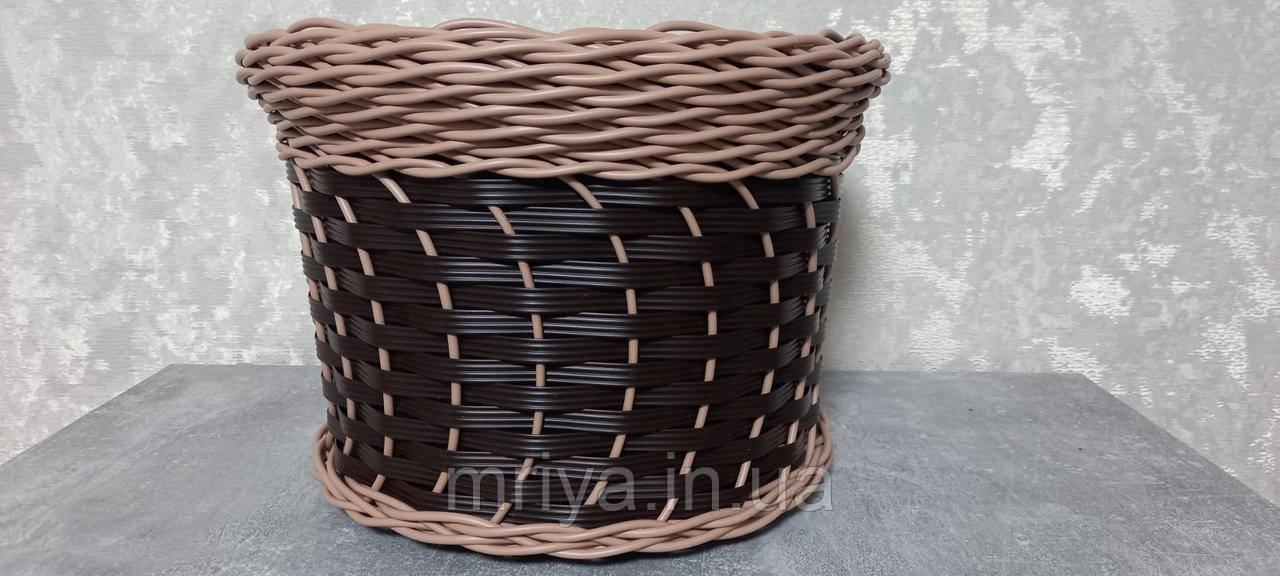 Кашпо коричневое с бежевым ободом 12 л