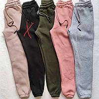 Однотонні жіночі теплі штани на флісі - в залишку бежевий і світло - сірий