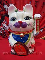 Манэки-нэко статуэтка для привлечения клиентов из белого фарфора