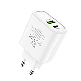 Сетевой адаптер питания Hoco C57A White HOCO Speed C57A  Type-C/USB, PD/QC3.0, 3A , фото 3