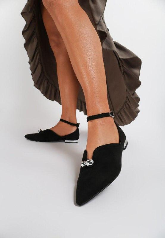 Чорні замшеві балетки на плоскій підошві