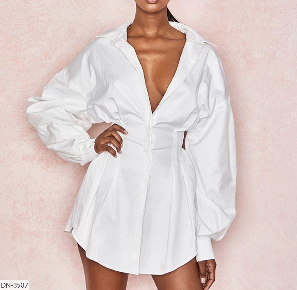 Стильное летнее платье-рубашка белое с длинным рукавом
